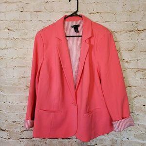 Lane Bryant Hot Pink Lined Stripe Blazer